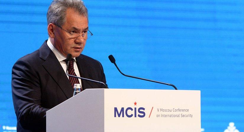 Le ministre russe de la Défense, Serhei Shoigu, s'exprimant à la Conférence de Moscou pour la sécurité internationale en avril 2018