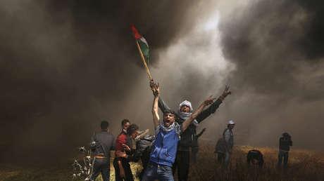 Des manifestants palestiniens dans une manifestation à l'est de la ville de Gaza.