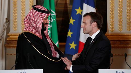 Le président français Emmanuel Macron et le prince héritier saoudien Mohammed bin Salman a organisé la conférence de presse à l'Elysée à Paris le 10 avril 2018. © Yoan Valat