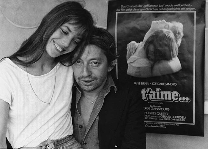 Jane et Serge en arrière-plan de l'affiche du film avec sa participation.