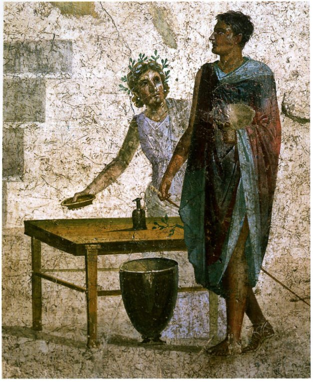 Jason guiando a los Argonautas en busca del Vellocino de oro. Fresco Romano.