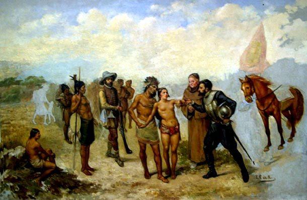 Le gouverneur espagnol Coronado remet la jeune Dulcehe (auparavant enlevée par un chef indien) à son frère, le cacique Corrohore.