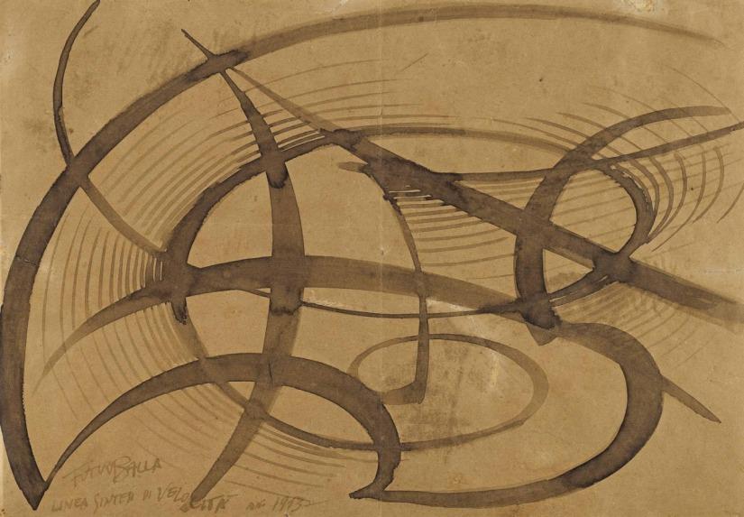 Linea sintesi di velocità, 1913. Encre sur papier, 35,3 x 49,8 cm, Giacomo Balla