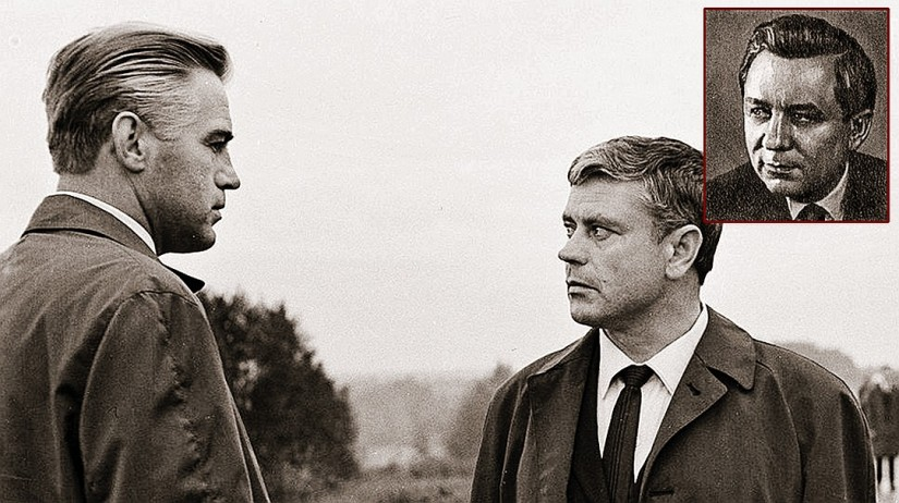 """Conon jeunes (photo de droite) était le prototype du héros du film """"The Dead Season"""" Constantine Ladeynikova.  Il a été joué par Donatas Banionis (photo ci-dessous - sur la droite).  Photo: cadre du film, wikipedia.org"""