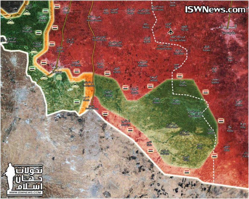 Dans les cartes: les forces gouvernementales reprennent une grande partie de la frontière syro-jordanienne